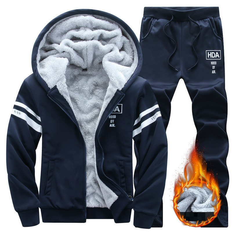 Winter Men Set Casual Warm Thick Hooded Jacket+Pants 2PC Sets Men Inner Fleece Hoodies Zipper Tracksuit Male Sports Suit Outwear