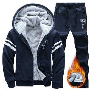 Image 1 - 冬男性セットカジュアル暖かい厚手のフード付きジャケット + パンツ 2 pcセット男性インナーフリースパーカージッパートラックスーツ男性スポーツスーツ生き抜く