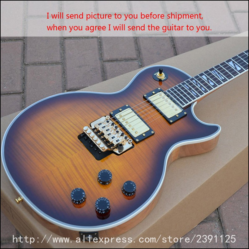 new brand electric guitar lp style custom axcess vintage sunburst color floyd rose guitars high. Black Bedroom Furniture Sets. Home Design Ideas