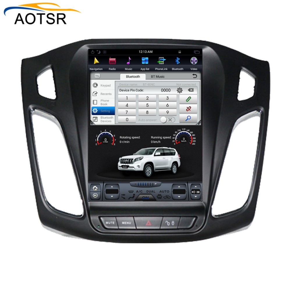 Tesla style Android voiture gps radio lecteur tête unité pour ford focus 2012-2017 gps navigation voiture radio stéréo pas de dvd grand écran