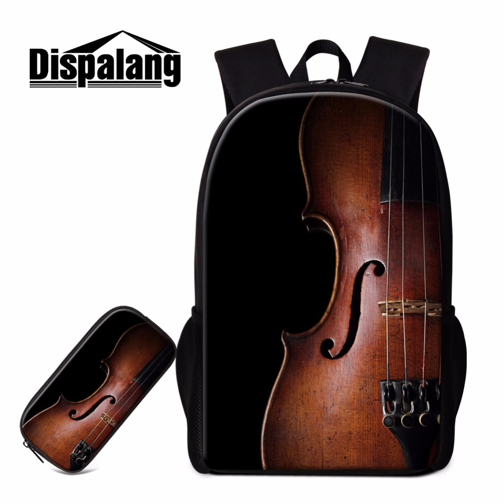 Backpacks Expressive Dispalang Violin Print Backpack Pencil Bag For Children Bag Pack For Teen Girls Kids Art Bookbag Design Fashion School Bag Child Providing Amenities For The People; Making Life Easier For The Population Men's Bags