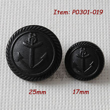 Mixed 25mm & 17mm black British anchor buttons overcoat windbreaker fashion buttons clothing accessories wholesale