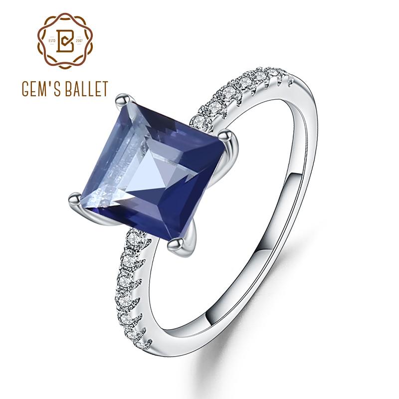 Gem's Ballet 1.09Ct Natural Iolite Blue Mystic Square Quartz Gemstone Ring 925 Sterling Silver Princess Wedding Rings For Women