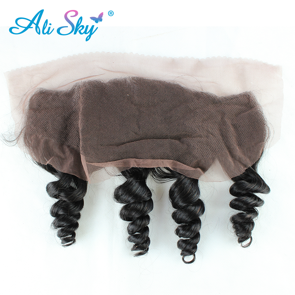 Ali Sky Brazilian Virgin font b Hair b font 1 piece Loose Wave Lace Frontal Closure