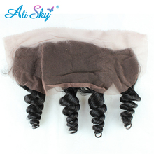 Ali Sky Brazilian nonremy Hair 1 piece Loose Wave Lace Frontal Closure ear to ear Human