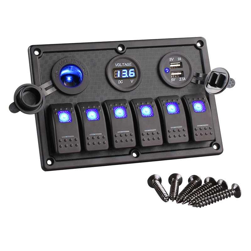 6 Gang Boat Rocker Switch Panel LED Switch USB Marine Switch Panel Dual USB Cigarette Lighter Socket Voltmeter Car Switch Panel