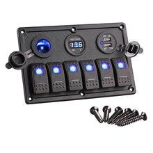 6 Gang Tekne Rocker Anahtarı Paneli LED Anahtarı USB Deniz anahtarı Paneli Çift USB Çakmak Soketi Voltmetre Araba Anahtarı Panel