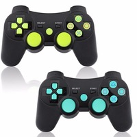 For PS3 Controller Wireless Dual shock Bluetooth Joystick Gaming Controller for PlayStation 3 with Charger Cable 2 Pack