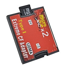 Type I Red Dual Slot Micro SD SDHC SDXC TF to CF Adapter Hight Quality  Micro SD to Extreme Compact Flash Card Converter