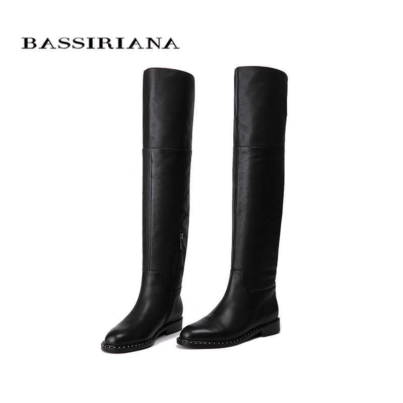BASSIRIANA 2018 Yeni Aşırı diz Hakiki deri çizmeler kadın Kış ayakkabı kadın Zip 35-40 Yüksek kalite Ücretsiz kargo