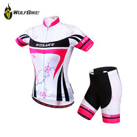 WOSAWE Women Cycling Jersey Team Breathable Summer Short Sleeve 4D Gel Pad Shorts Set Mtb Cycling