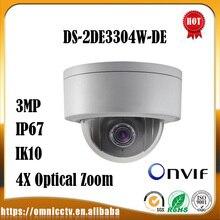 Hikvision PTZ 3MP IP POE Camera DS-2DE3304W-DE IK10 4X Optical Zoom WDR IR Night Version Mini Dome CCTV Surveillance Camera