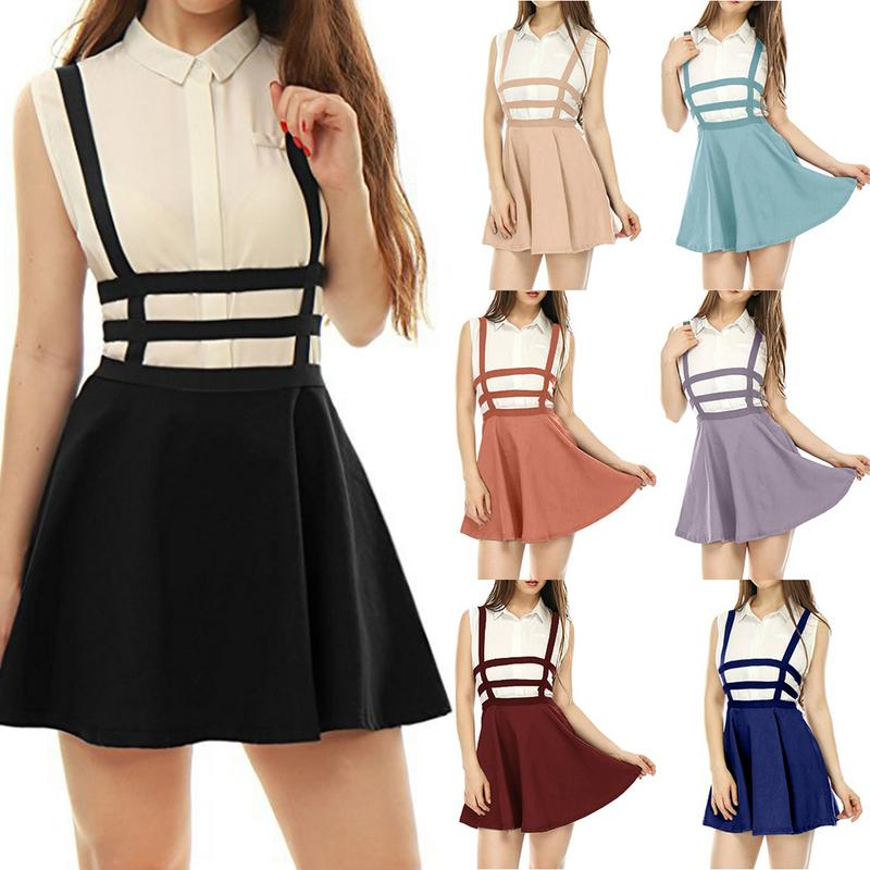 Halloween Lady Openwork Straps High Waist Strap Pleated Skirt Preppy Style Female Collage Girls Mini Skirt Solid Color Size S-XL