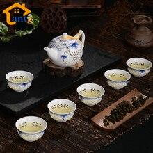 Neuheiten Exquisite TEE SERVICE, Drink 7 Stücke Bone China Tee-Set Ceramic Kungfu Teekannen & Tassen, schwarz Tee ware hohe Qualität