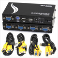 MT-471UK-L 4-Port USB PS/2 KVM Switcher Auto, botón o Tecla de Acceso Directo para cambiar de PC, con cables