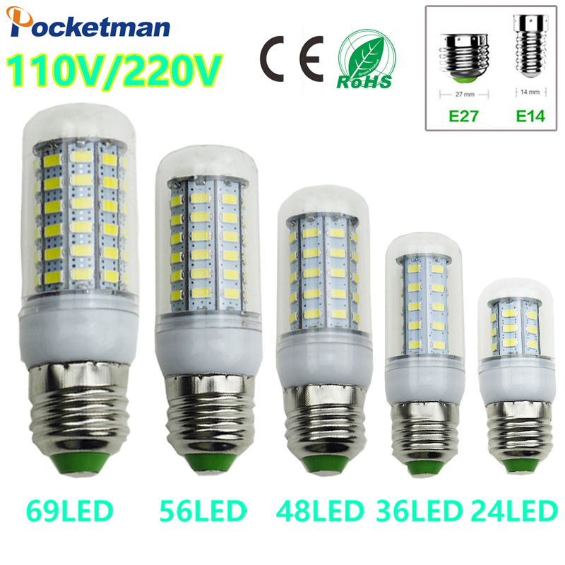 E27 E14 LED Corn Light lamp AC 220 V SMD 5730 Led corn bulb lighting projector lamp 69/48/36/24Led E27 Led Bulbs universal oven timer buzzer alarm reminder