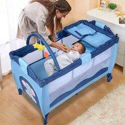 Новая детская кроватка манеж Playard пакет путешествия младенческой люльки кровать складная розового и зеленого цветов Кофе Буле BB4397