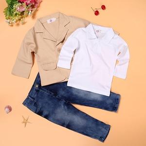 Image 3 - 3 adet güz çocuk beyefendi takım elbise ceket + beyaz uzun kollu T shirt + kot giyim seti için 3 4 5 6 7 8 yıl çocuk boys kıyafetler
