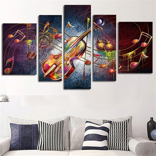 5 Planes Large Huge Size Wall Art Canvas Painting Guitar Music Home Decor  Posters Prints Art Pictures For Living Room No Framed