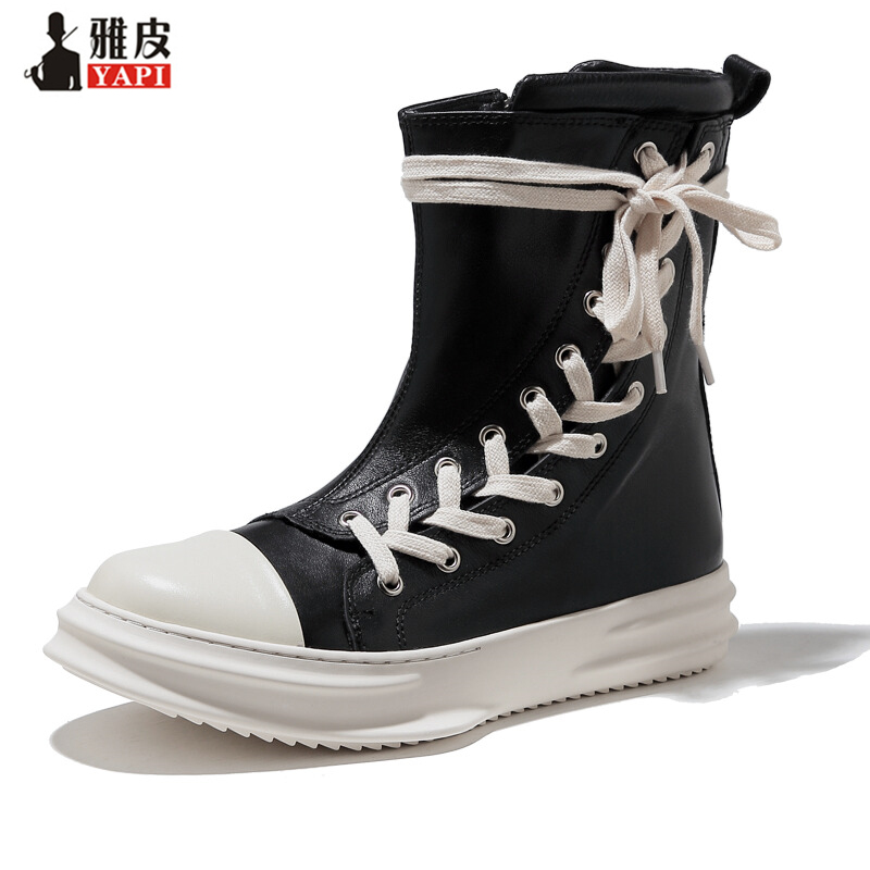 2018 New! Recommend Genuine Leather Mens Mid-calf Boots Man Lace Up Thick Heel Martin Boots Winter High-top Casual Shoes 2018 new vintage mid calf women boots square thick high heels pointed toe martin boots genuine leather winter shoes for women