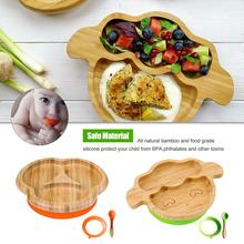 Tableware Set Baby Bamboo Suction Bowl Matching Spoon Feeding Snack Tray Suit Restaurant supplies