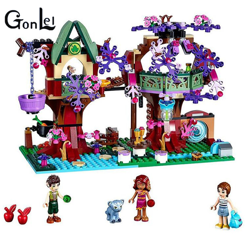 (GonLeI) 10414 self-locking bricks Compatible with  Elves The Elves' Treetop Hideaway Toys for children girl toys for children china brand 355 self locking bricks compatible with lego technic rescue helicopter 8068 no original box
