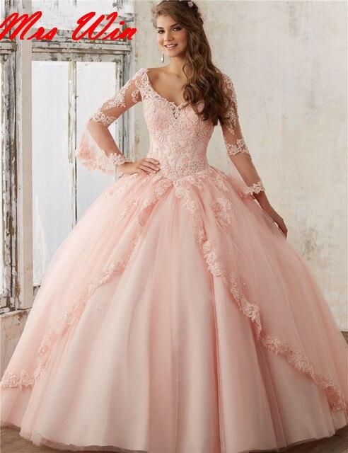b9e6b4417b Vestido 15 anos blush pink appliques vestidos de manga larga con cuello en v  vestido de bola de baile vestido de quinceanera sweet 16 vestidos en  Vestidos ...