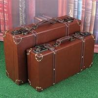 Vintage Leather Wood Suitcase Luggage Organizer Storage Box Caixa Organizadora Cajas Organizadoras Boite de range ment suitcas