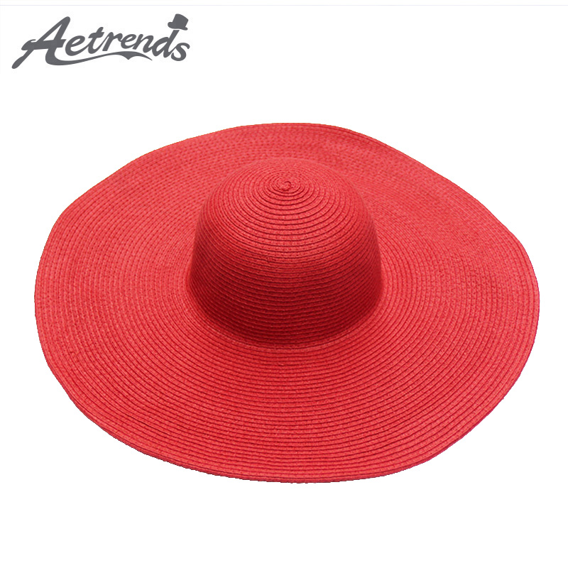 [AETRENDS] 14 Colour Solid Wide Bride Straw Hat 2018 New Summer Beach - Aksesorë veshjesh