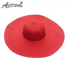 AETRENDS  14 colores sólidos ala ancha del sombrero de paja 2018 nuevo  verano playa sombreros plegables de Sun para las mujeres. 5a212b88ca7