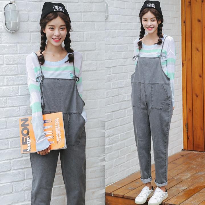 Grey Denim thin pants female Korean School girls all-match ankle length pants loose wind bands suspenders