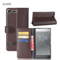 KLAIDO Genuine Cow Leather Case For Sony Xperia XZ Premium Case Protective Wallet Book Cover For