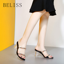 BELISS fashion woman high heels sandals sexy ladies slippers transparent crystal thick peep toe famale shoes genuine leather S16