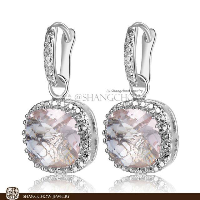 Nueva! joyería moda impresionante Morganite 925 pendientes de la plata esterlina E0152