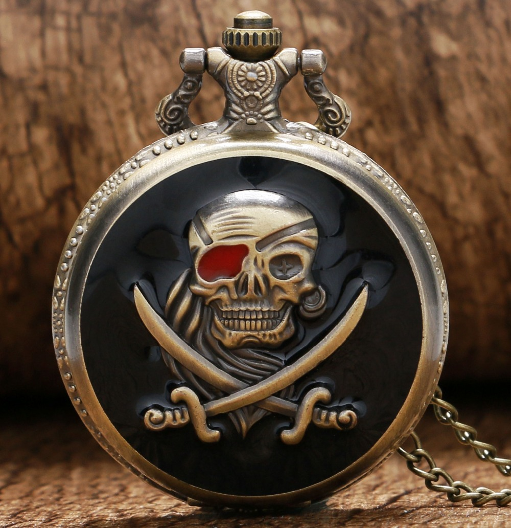 New Arrival Retro Bronze Skull Pirate Quartz Pocket Watch With Necklace Chain Best Gift To Men Women