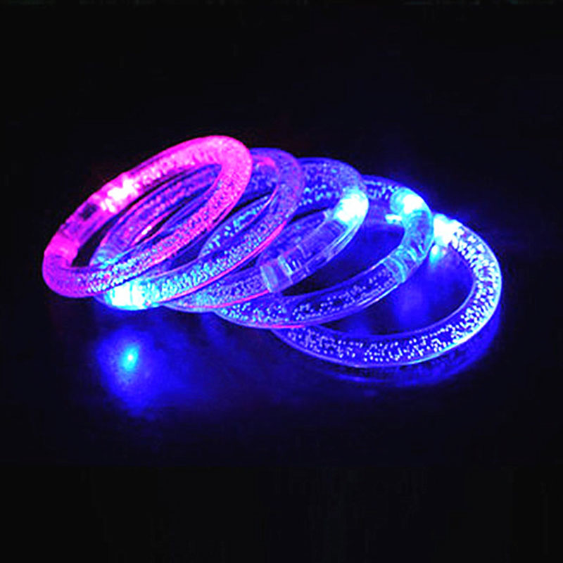 Multicolor LED Flashing Bracelet Acrylic Wristlet Dance Bar Ornaments Kids Toys
