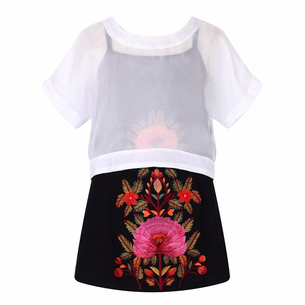 Girl Dress with Embroidered Flower 2017 Brand Summer Robe Fille Princess Dress Knit Clothes Kids Costumes for Children 2pcs Set gril flower dress multi storey white clothes stage girl performance children show clothes for dance with a pair of glove