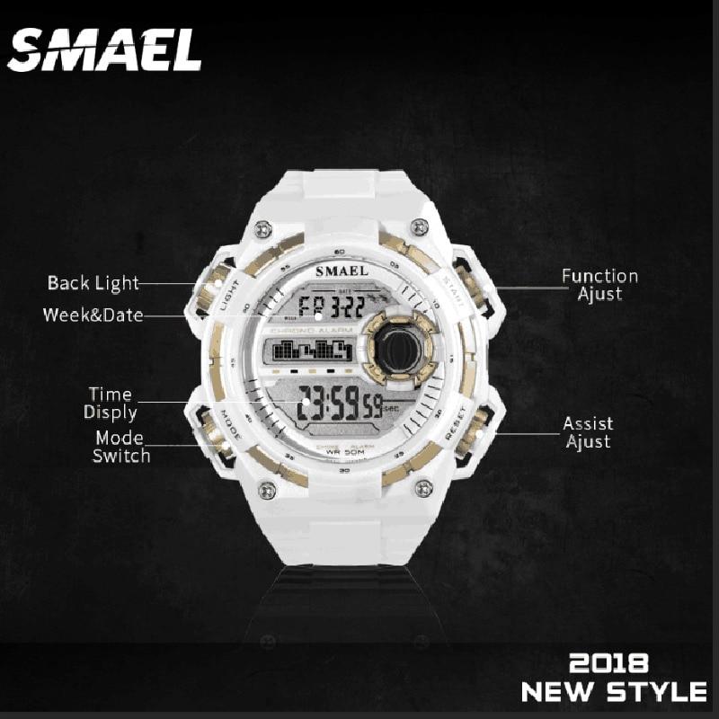 Relógios para Homem à Prova Esporte Dwaterproof Água Smael Sshock Relógio Branco Grande Dial Homem Digital1438 Quartzo Digital Relojmujer Moda