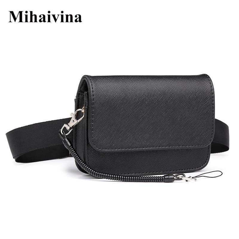 Mihaivina Unisex Waist Bag Women Waist Fanny Packs Belt Bag Luxury Brand Leather Waist Pack Hip Belt Bum Pouch Men Bag
