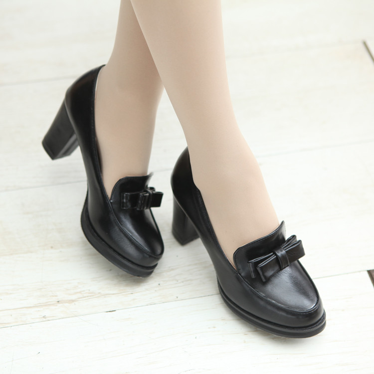 Plus big size 34-47 Casual Lace Up Thick High Heel Shoes Fashion Patent Leather Woman Pumps Heels Spring Autumn shoes 6-9 big size eur 34 50 thick heels round toe single shoes spring autumn high heel women shoes fashion pumps lace up low shoes ox119