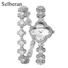 2018 Summer Collection Sapphire Crystal Clover Shape 50m Water Resistant 2 Round Bracelet Watch Women Casual Quartz Watch