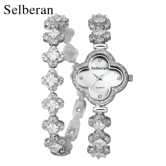 07c17f7ea0 2018 Summer Collection Sapphire Crystal Clover Shape 50m Water Resistant 2  Round Bracelet Watch Women Casual