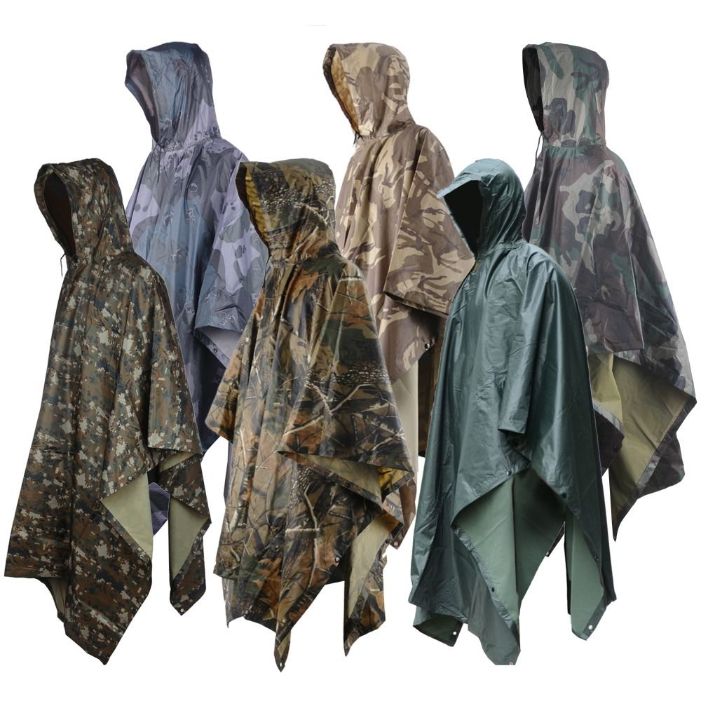 Rain Poncho Waterproof Camouflage Rain Coat Outdoor Camo Sun Shelter Ground Sheet Tarp For Hammock Camping Tent Awning Canopy