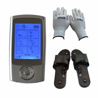 TENS Unit Dual Channle Output TENS/EMS Digital Therapy Pain Relief Electrical Nerve Muscle Stimulator With Gloves And Slipper