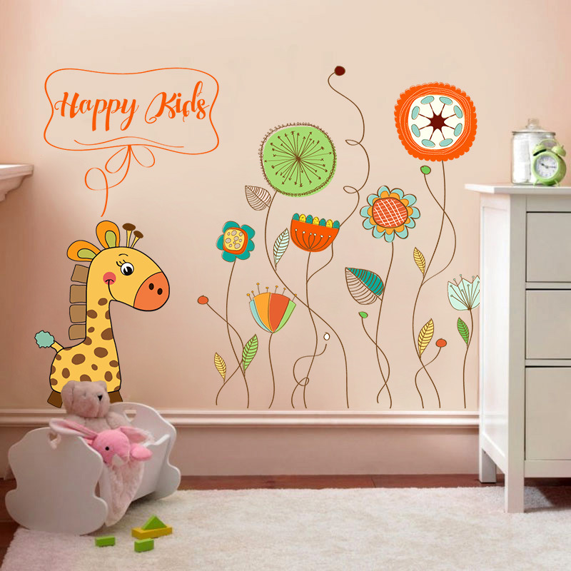 Simple line flower wall stickers home decoration living room bedroom glass window translucent applique cute deer garden mural