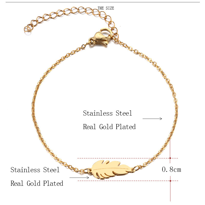 DOTIFI Stainless Steel Bracelet For Women Feather Man Gold And Silver Color Pulseira Feminina Lover's Engagement Jewelry 7