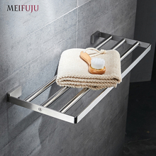 MEIFUJU SUS304 Stainless Steel Towel Rack Bathroom Towel Rack Holder Square Towel Shelf Bathroom Shelf Single Dual Triple Racks stainless steel 304 bathroom towel rack double bath towel holder shelf bathroom towel holder shelf chorm bathroom hardware 60cm