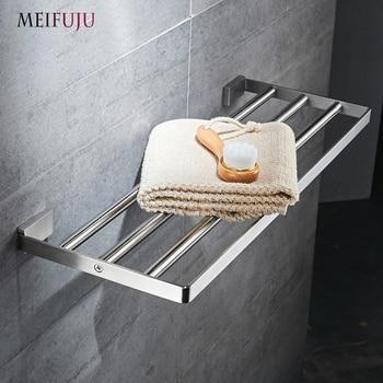 MEIFUJU SUS304 Stainless Steel Towel Rack Bathroom Holder Square Shelf Single Dual Triple Racks