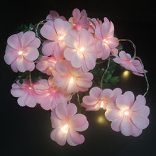 Creative Pink Frangipani LED String Lights, Battery Floral Holiday Lighting,Party Flower Garland Decor.,Bedroom Decoration(China)