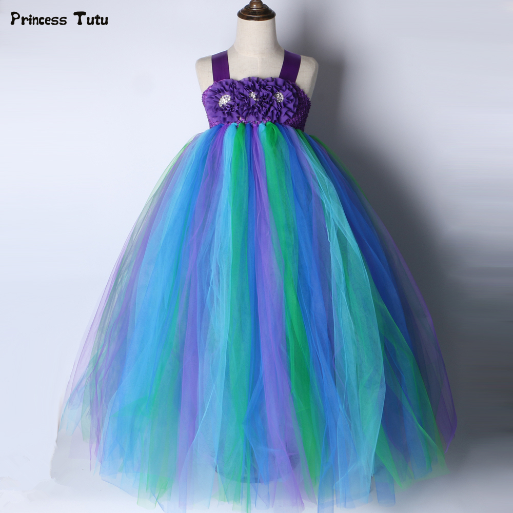Princess Girls Peacock Tutu Dress Rhinestone Flowers Girl Party Dresses Baby Kids Birthday Wedding Dress Halloween Costume 1-14Y princess girls peacock tutu dress